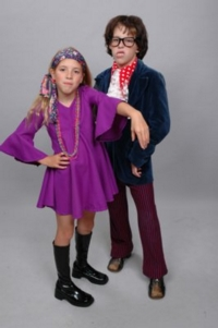 1960s child purple sixties costume